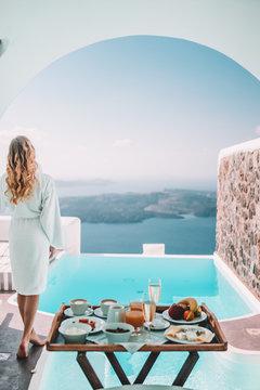 Breakfast time in Santorini in hotel
