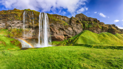 Fantastic Seljalandsfoss waterfall in Iceland during sunny day. Wall mural