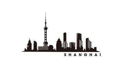 Fototapete - Shaghai skyline and landmarks silhouette vector