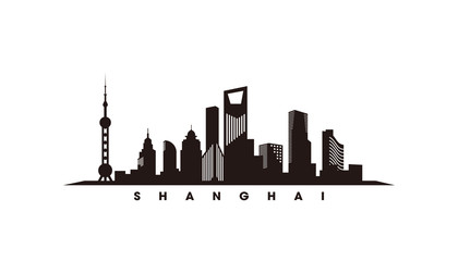 Wall Mural - Shaghai skyline and landmarks silhouette vector