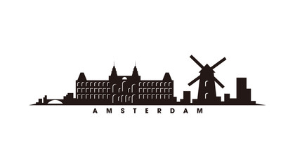 Wall Mural - Amsterdam skyline and landmarks silhouette vector