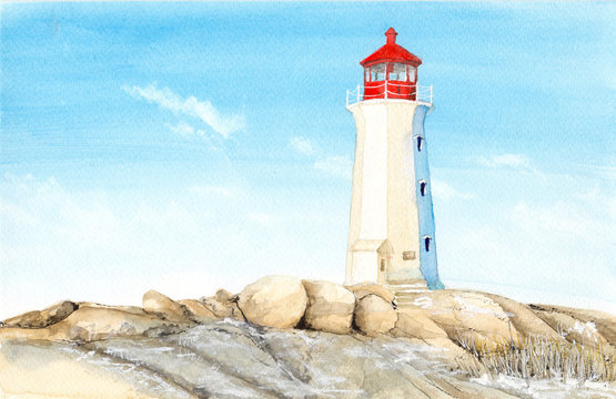 Watercolor picture of  lighthouse in Peggy's Cove in  Canada