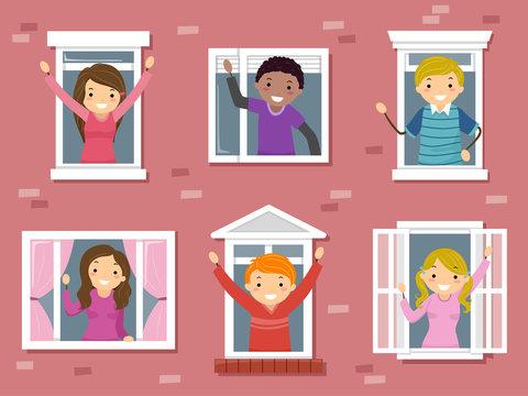 Stickman Teens Window College Illustration