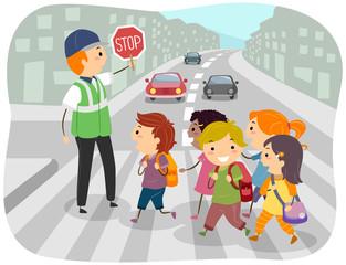 Stickman Kids School Crossing Guard Illustration