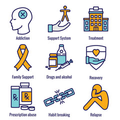 Drug & Alcohol Dependency Icon Set - support, recovery, and treatment