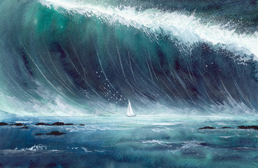 Watercolor picture of a sailing boat  in storm with gigantic green wave and white sea foam