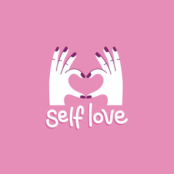 Vector illustration in simple style with hand-lettering phrase self love