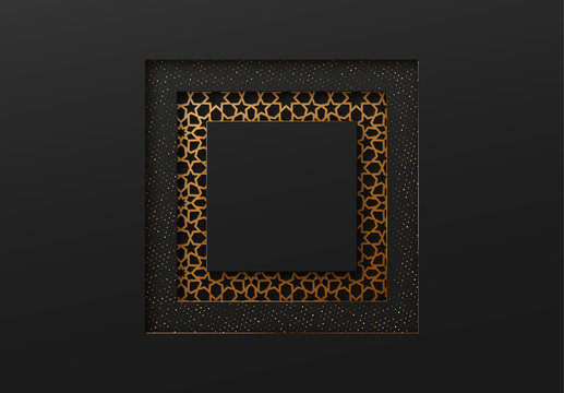 Black and gold background with geometric texture tunnel style cut out paper embossing pattern
