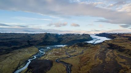 Vue aérienne Glacier en Islande