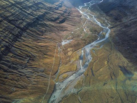 Vue aérienne rivière en Islande