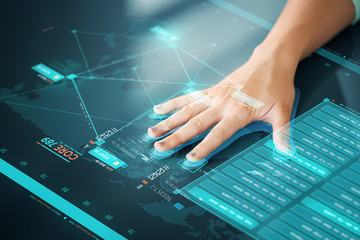future technology, data access and identification concept - hand using interactive panel with touch screen with fingerprint scanning system