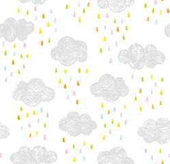 Vector kids pattern with clouds and rain drops. Cute doodle scandinavian seamless background in mint, pink, yellow and gray.