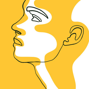 Continuous one line drawing of man face portrait with yellow spot. Hairstyle. Fashionable men's style. Fashion concept, beauty minimalist, vector illustration for t-shirt, slogan design graphics style