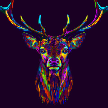 Deer. Abstract, neon, multi-colored portrait of a deer's head on a dark purple background.
