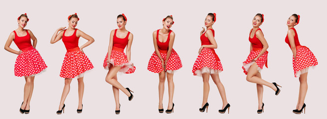set of smiling pin up woman in polka dot red dress. cute girl posing in retro style