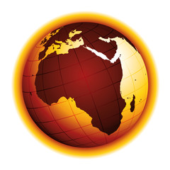 Global warming. Drought effect. Climate change. Environmental danger vector icon.