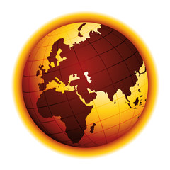 Global warming. Drought effect. Climate change. Environmental danger vector icon. Africa, Asia and Europe view.