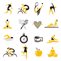 Healthy lifestyle sport colorful icons. Set of sexteen Health care and sport icons. Isolated on white background. Vector available.