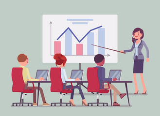 Business presentation and meeting in office. Gathering for selling idea or product, training purposes, speech to motivate company audience, tutorial for workers. Vector flat style cartoon illustration