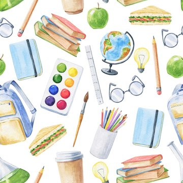 Watercolor school seamless pattern, repeating background. Education hand drawn illustration.