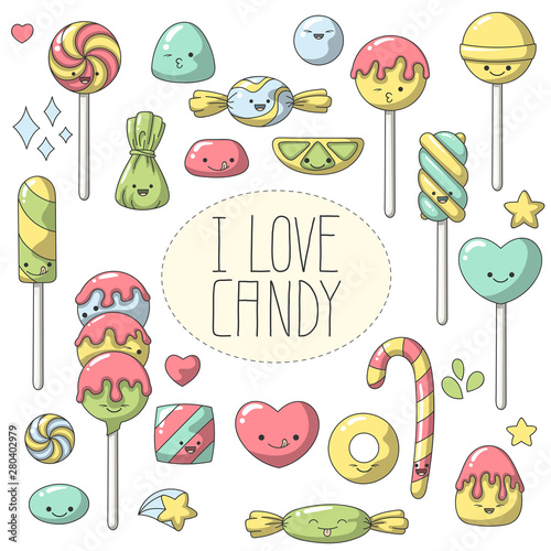 Doodle candy in Kawaii style  Set of cute cartoon characters