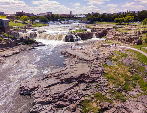 Aerial view of the falls in Sioux Falls, South Dakota.