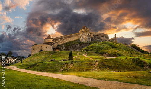 Wall mural Landscape with Medieval fortress Rasnov at sunset, Brasov, Transylvania, Romania