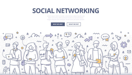 People Social Networking Doodle Concept Wall mural