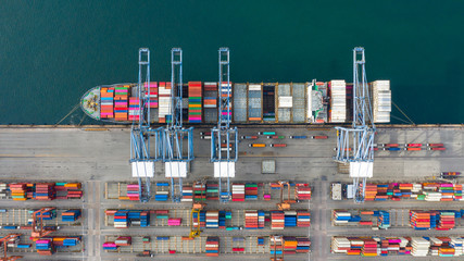 Aerial view container ship carrying container in import export business logistic and transportation of international by container ship in the open sea, with copy space. Fototapete