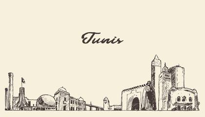 Fototapete - Tunis skyline Republic Tunisia drawn vector sketch