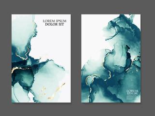 Obraz Marble card presentation, flyer,  invitation card template design, green, blue tender decoration isolated on white  background, vintage style decoration 2019 - fototapety do salonu