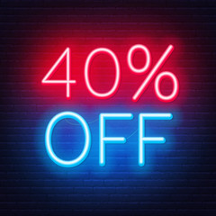 Fototapete - 40 percent off neon lettering on brick wall background