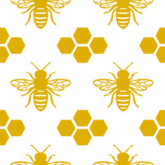 Seamless Honey Bee Pattern. Endless Background with Honeycomb.