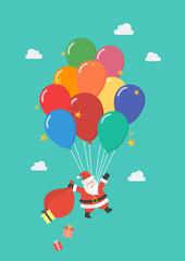 Santa claus hanging on balloon