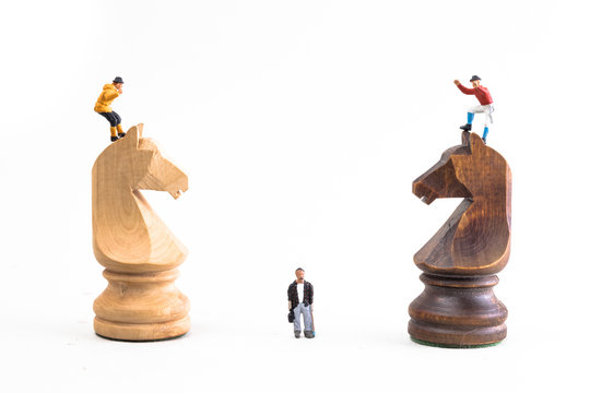 Battle/war in chess, with Miniature People