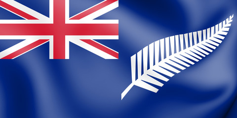3D Silver Fern Flag (blue ensign), Flag of New Zealand