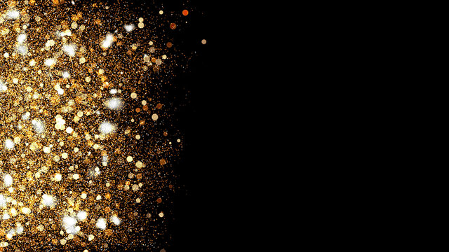 3d Illustration, Small gold dust, graphics of fire flakes, particle points and yellow-orange circles at the left of the frame