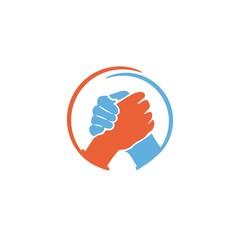 Handshake circle symbol