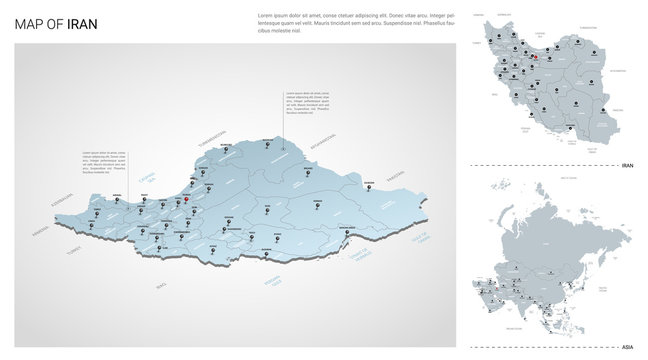 Vector set of Iran country.  Isometric 3d map, Iran map, Asia map - with region, state names and city names.