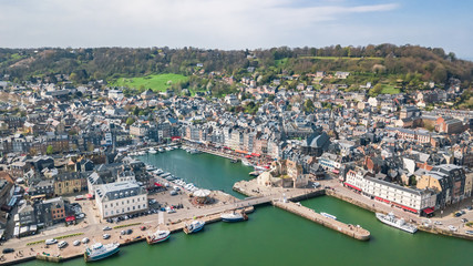 Panoramic drone view of the city of Honfleur in Normandy France Fotomurales