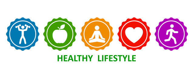 Set healthy lifestyle icons, buttons of dumbbells, apple, yoga, heart and run – stock vector