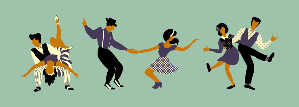 Horizontal composition of three couples. Set of people in 1940s or 1950s style dancing lindy hop or boogie woogie. Vector illustration.