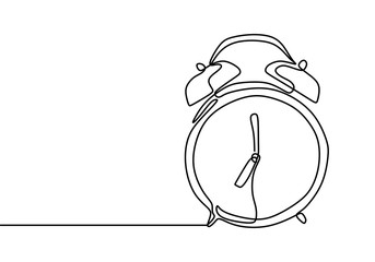 Alarm clock at 7 sharp continuous one line drawing minimalist design on white background