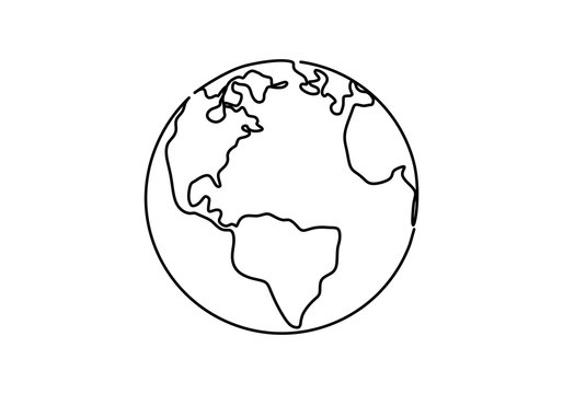 One line style world earth globe continuous design. Simple modern minimalistic style vector illustration on white background.