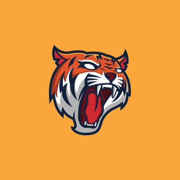 Tiger Head Mascot Logo Template