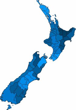 Blue outline New Zealand map on white background. Vector illustration.