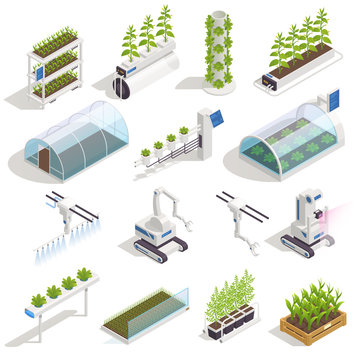 Greenhouse Hydroponics Isometric Set