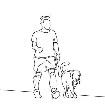 Walking with dog continuous line drawing minimalist design with simple lineart
