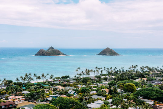 Islands off the coast of Lanikai beach on the north shore of Oahu