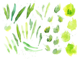 Green watercolor splash texture. Hand drawn yellow and green blots drawing vector art. Wall mural